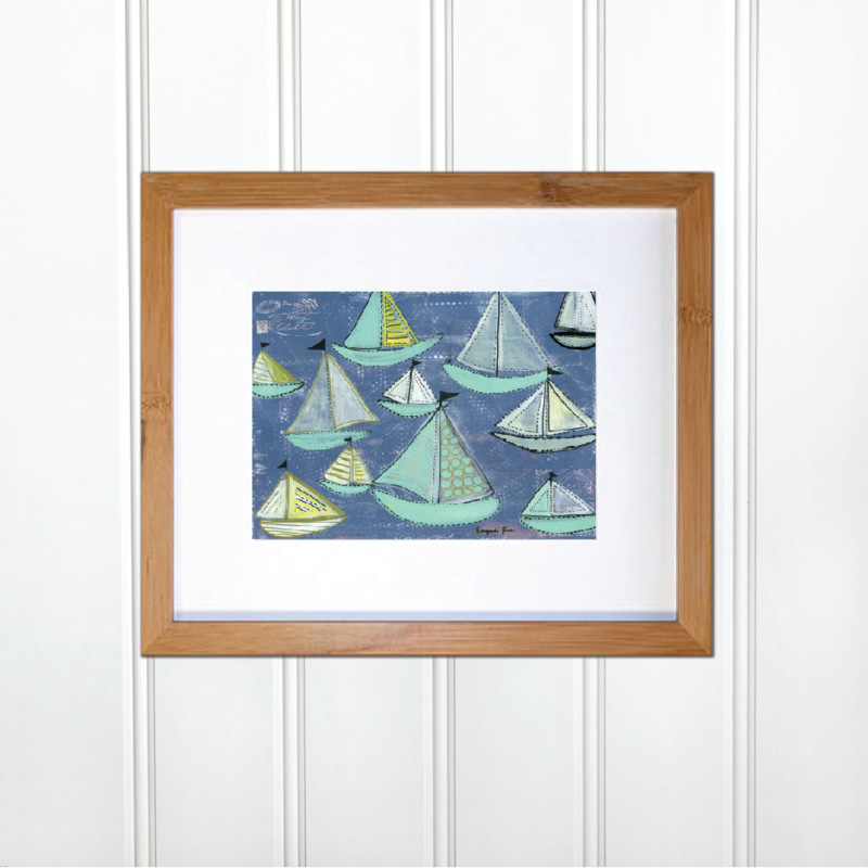 Sample with ATTRIBUTES Bright Blue & Seafoam Sailboats