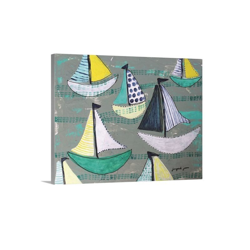Teal Sailboats Canvas Reproduction (16 x 20)