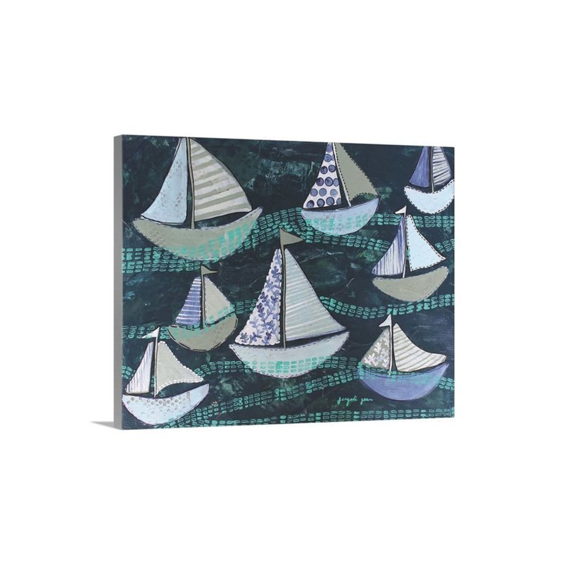 Navy Sailboats Canvas Reproduction (16 x 20)
