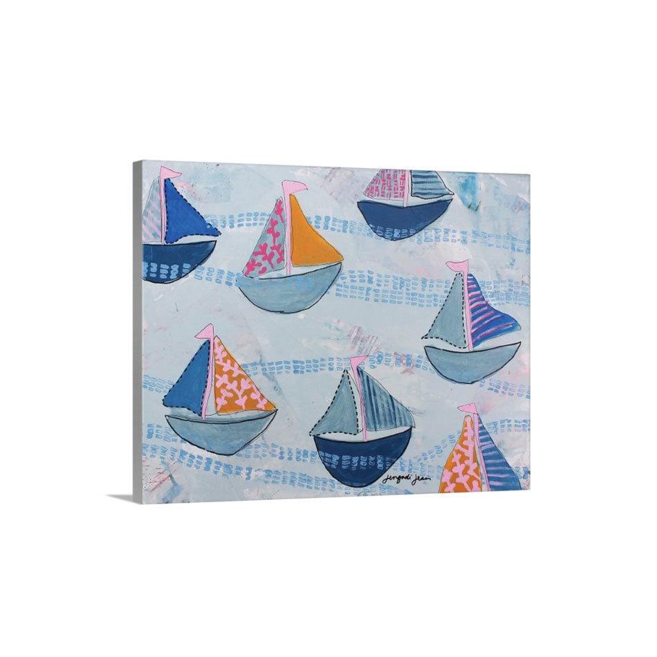 Pink Navy Sailboats Canvas Reproduction (16 x 20)