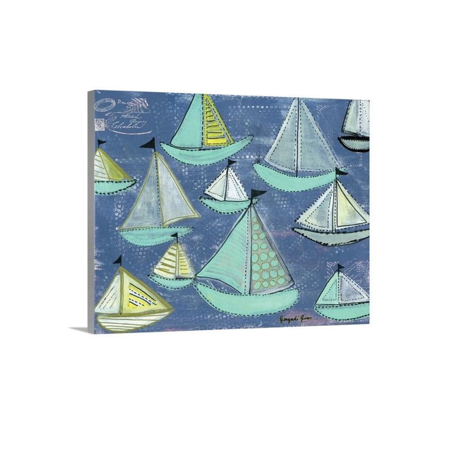 Seafoam Blue Sailboats Canvas Reproduction (16 x 20)