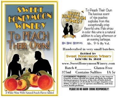 RETAIL -To Peach Their Own, Riesling with Peach - Sweet Honeymoon , Iowa