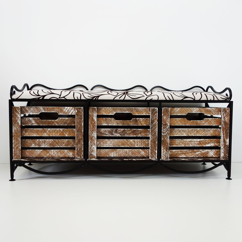 Кованый диванчик с 3-мя выдвижными ящиками