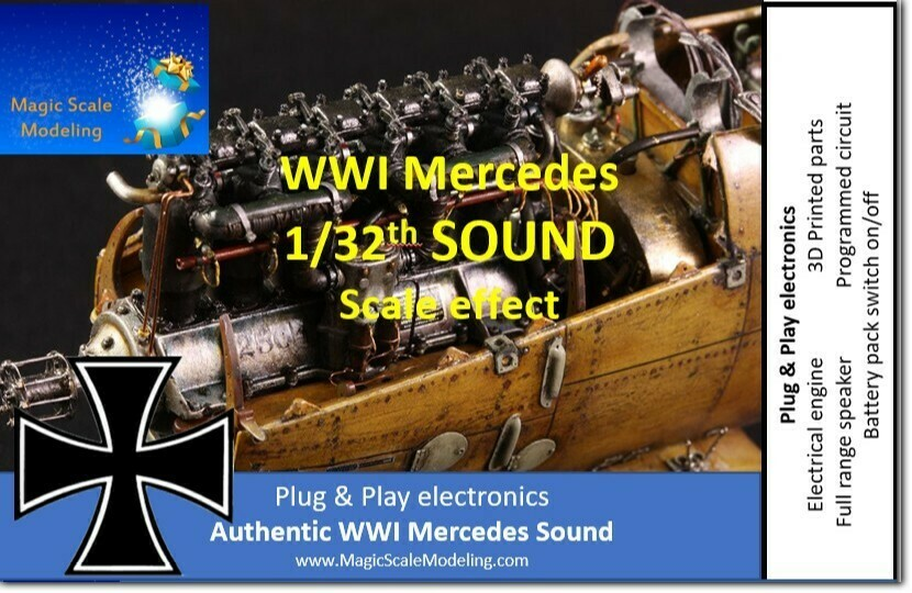 1/32th World War 1 Mercedes engine - Electric engine & Sound