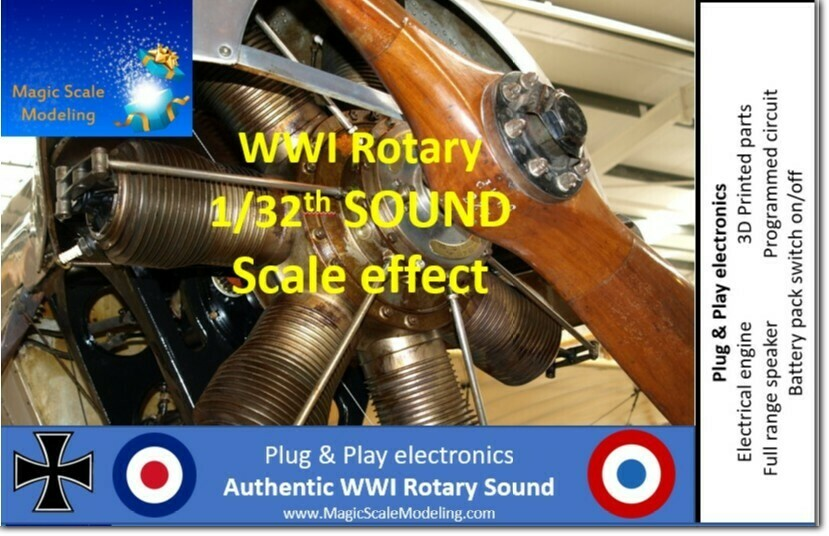 1/32th World War 1 Rotary engine - Electric engine & Sound