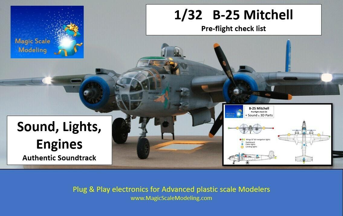 B-25 Mitchel - 1/32  - Motors, Sound & Lights set - Taxiway
