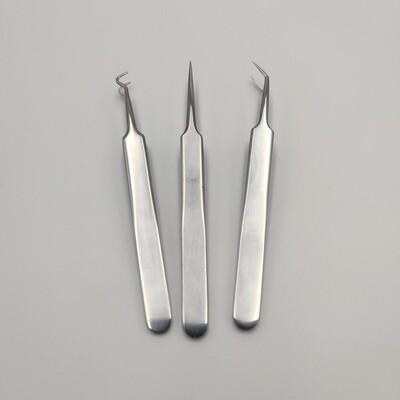 Tweezer - Set of 3 sharp precision metal tweezers