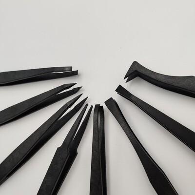Tweezer - Set of 8 carbon antistatic tweezers