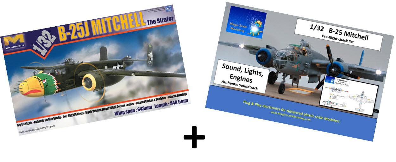 Combo HKM B-25 Mitchel 1/32 + Plug and play Electronic set (Engines, Sound & Lights)