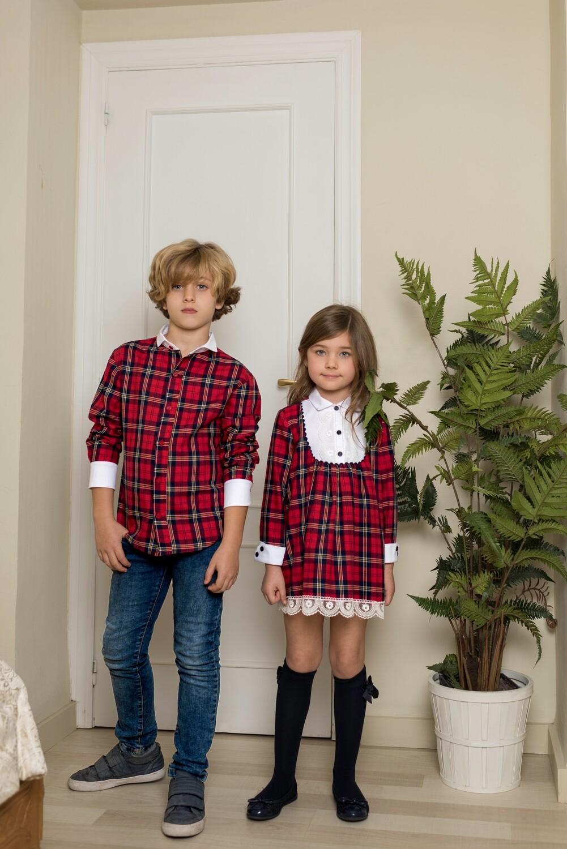 Camisa niño tela escocesa