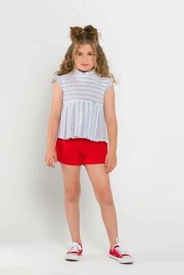 Conjunto  pantalón corto rojo  y blusa corta