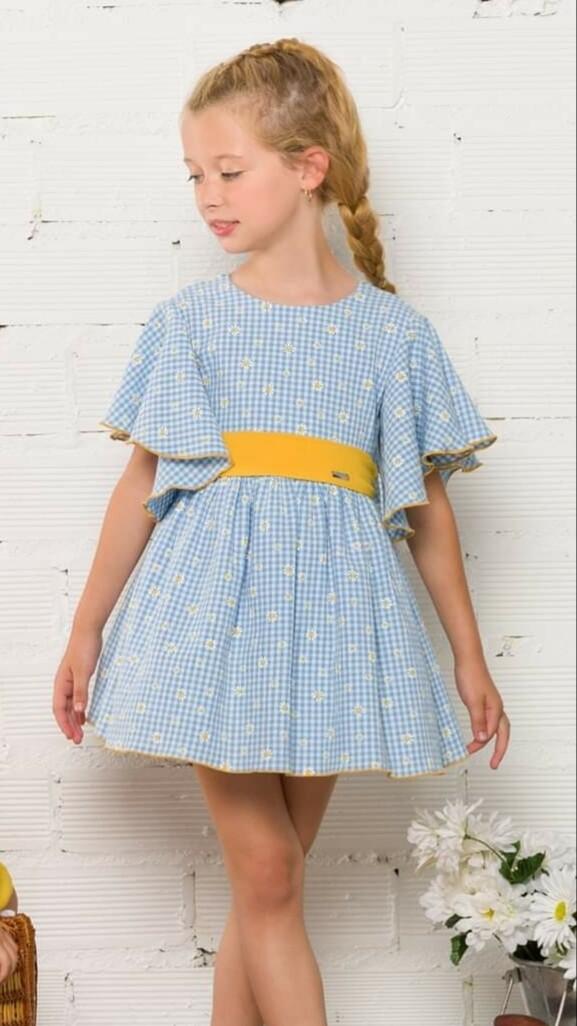 Vestido azul y amarillo cuadro vichy