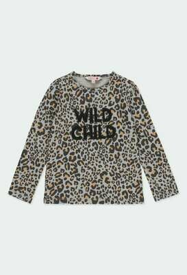 Camiseta punto animal print de niña
