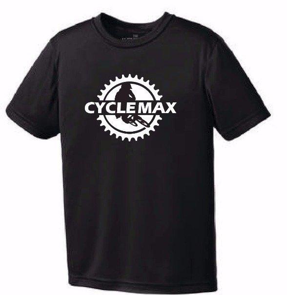 T-shirt avec ou sans manches Cycle-Max Racing homme, femme et jeune, noir, blanc ou orange avec ou sans poche
