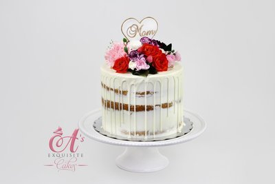 Semi-Naked Drip Cake With Fresh Flowers - Serves 15