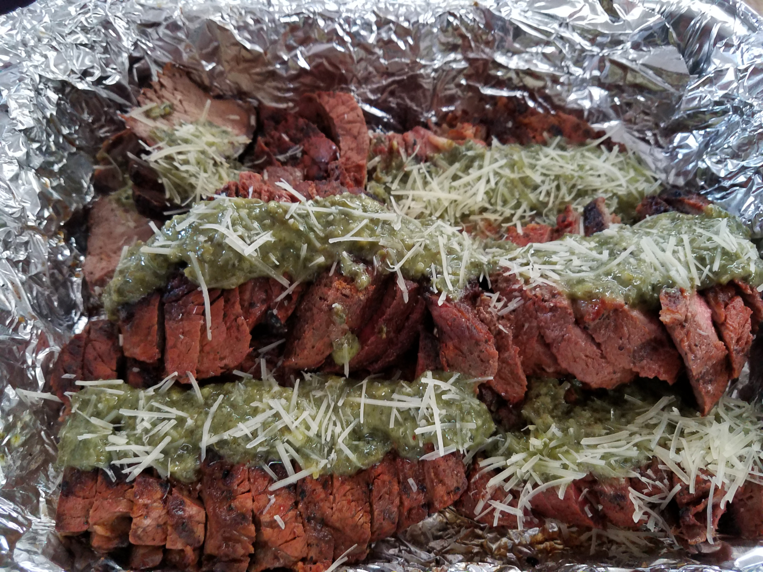 """Rub Me tender"" Tri-Tip with Pesto Sauce"