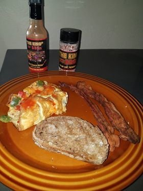 """""""Rub Me Tender"""" - """"THE KING""""s Southwest Omelet with """"Rub me Tender"""" and """"Hot Sauce Hotel"""" -  Spicy Hot"""