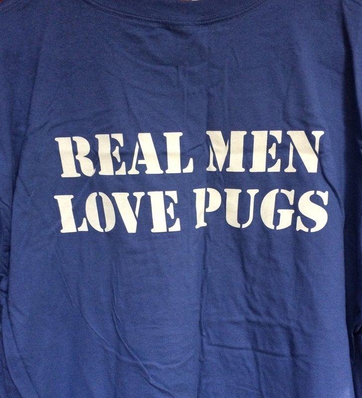 New! PRONE Real Men Love Pugs T-Shirt, blue/gray