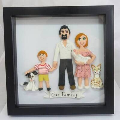 2D Family Figures Framed - 1 or 2 Figures(Adult or Child)-Option to add more.