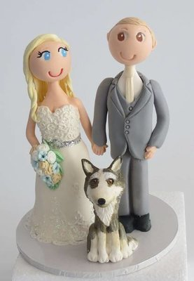 Standing Bride & Groom with 1 pet