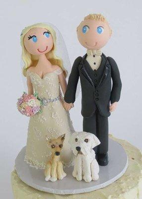 Standing Bride & Groom with 2 pets