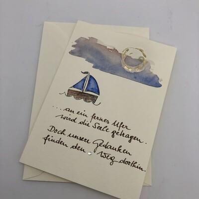 """Billett """"handmade"""" Trauer - Spruch/Segelboot"""