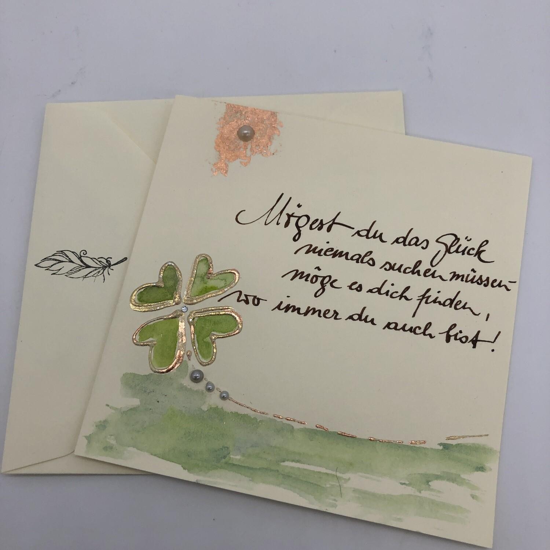 """Billett """"handmade"""" - Spruch Glück"""
