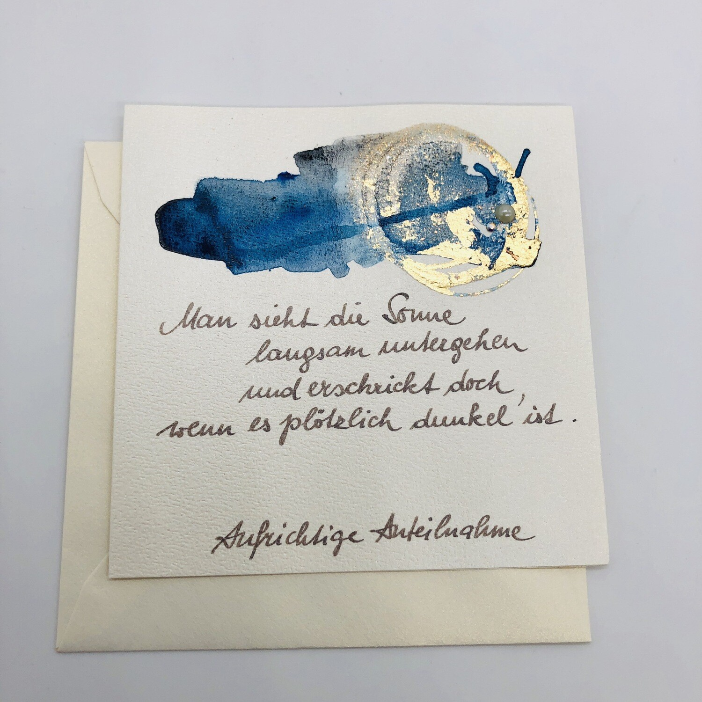 "Bilett ""handmade"" Trauer blau/gold"
