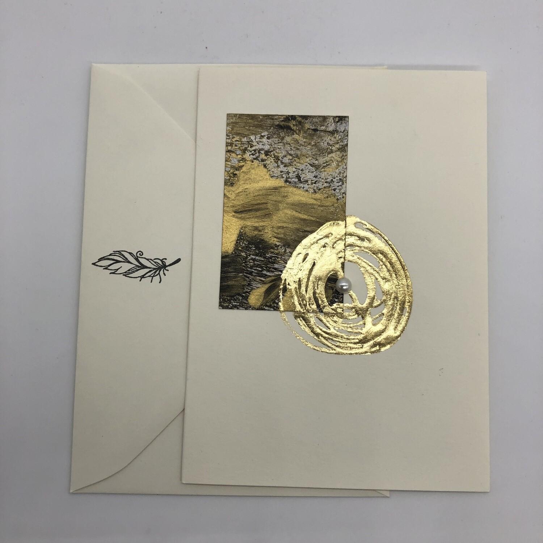 "Billett ""handmade"" creme/gold"