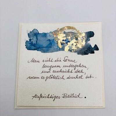"Billett ""handmade"" Trauer blau/Blattmetall, Perle, Swarovskikristalle"