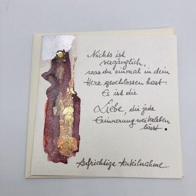 "Billett ""handmade"" Trauer rot/Blattmetall, Perle, Kristall"