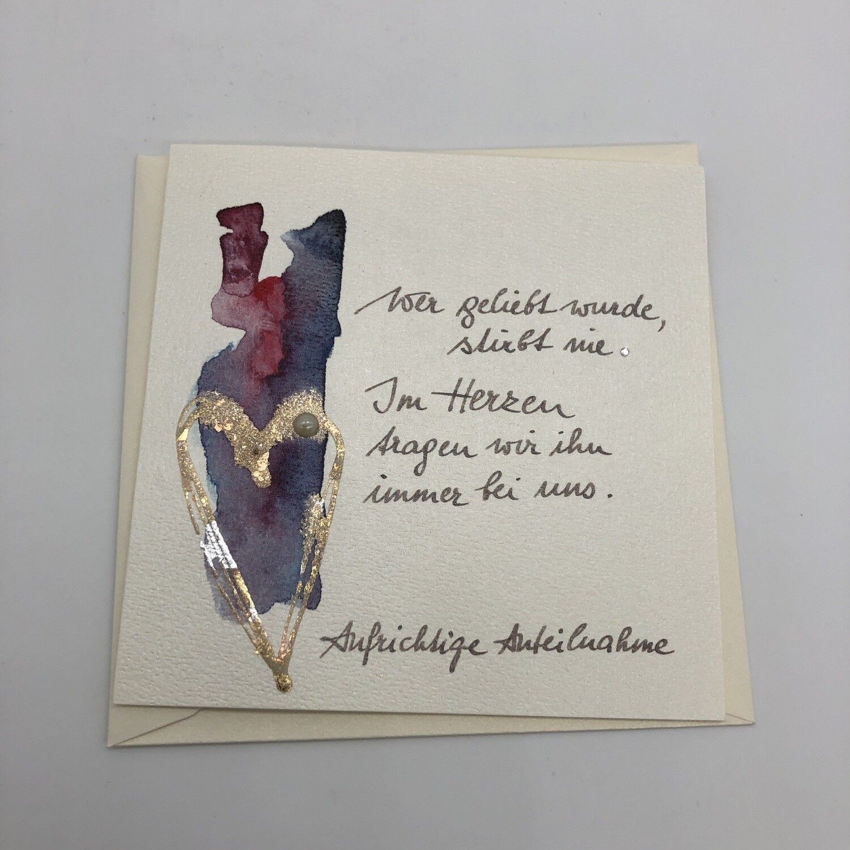 "Billett ""handmade"" Trauer lila/Herz gold, Perle, Swarosvkikristall"