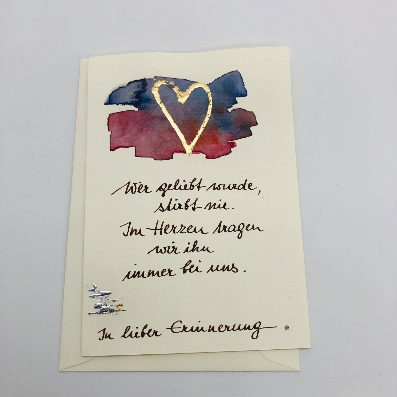 """Billett """"handmade"""" Trauer Herz gold, Perle, Swarovskikristall"""