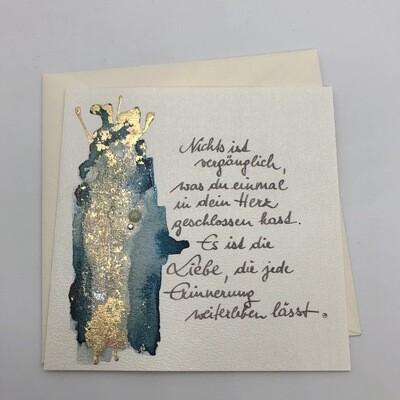 "Billett ""handmade"" Trauer blau/Blattmetall, Perle, Swarovskikristall"
