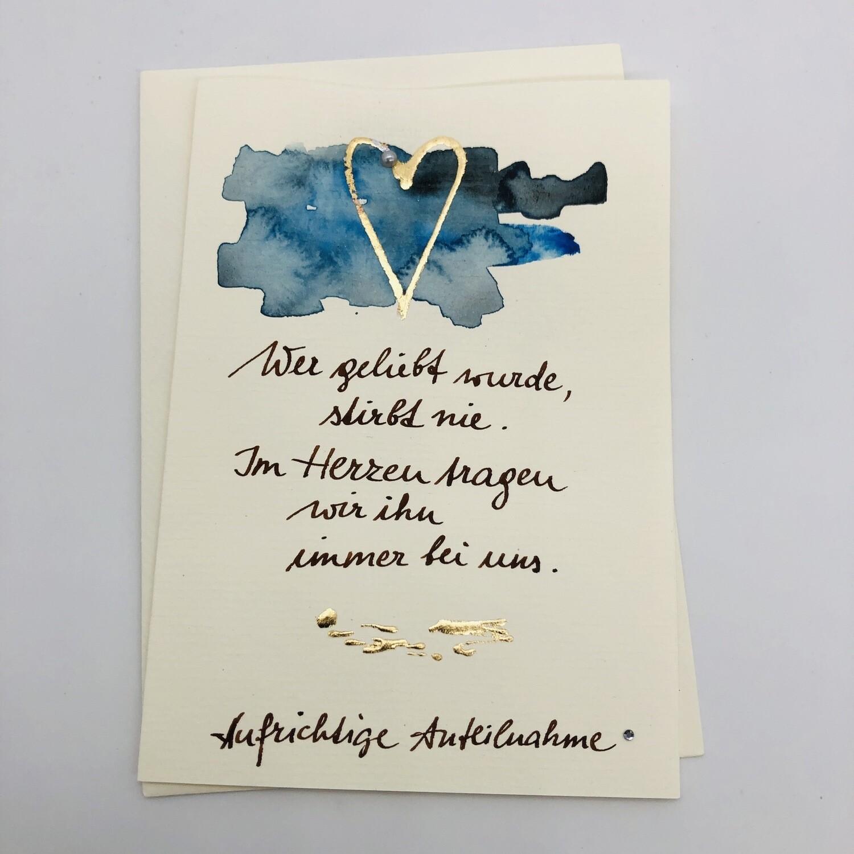 "Billett ""handmade"" Trauer blau/gold, Perle, Swarovskikristall"