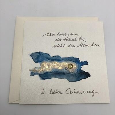 "Billett ""handmade"" Trauer blau/Blattmetall, Perle, Kristall"
