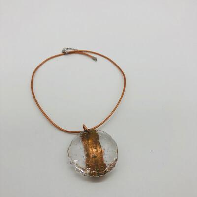 Halskette mit Anhänger transparent/kupfer