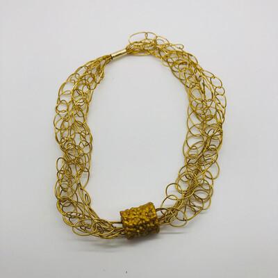 """Halskette / Armband gold """"gestrickt"""" 4-fach - kombinierbar mit """"Perle"""" oder solo zu tragen"""