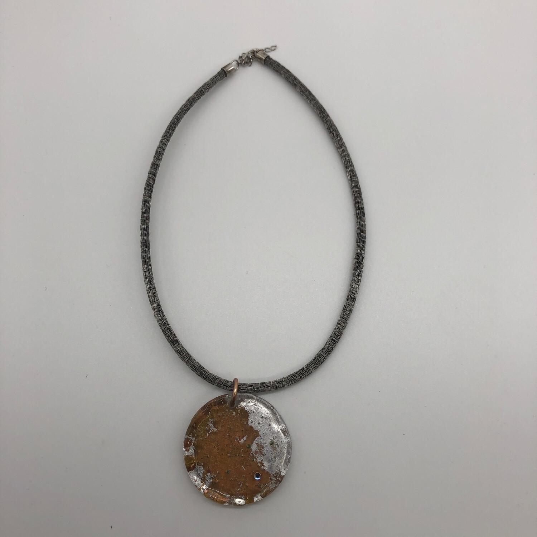 Halskette mit Anhänger silber/kupfer