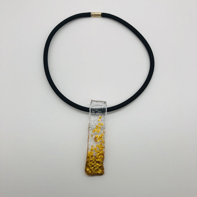 Halskette Kautschuk mit Anhänger transparent/gold