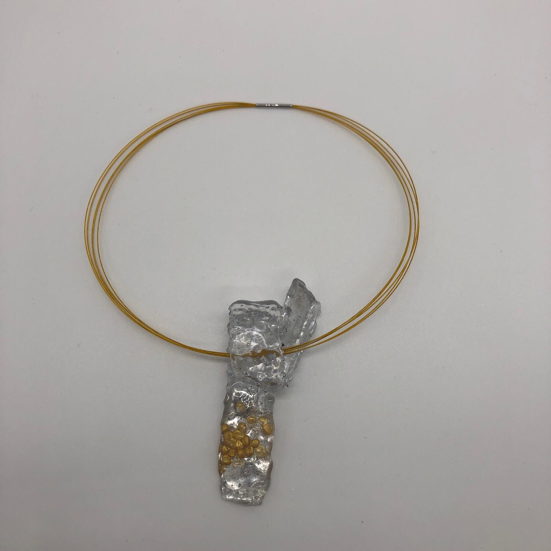 Halskette kurz mit Anhänger transparent/silber