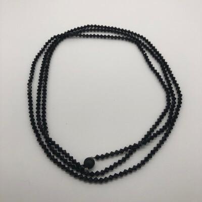Halskette extralang schwarz mit facettierten Swarovskikristallen - mit Anhänger zu ergänzen