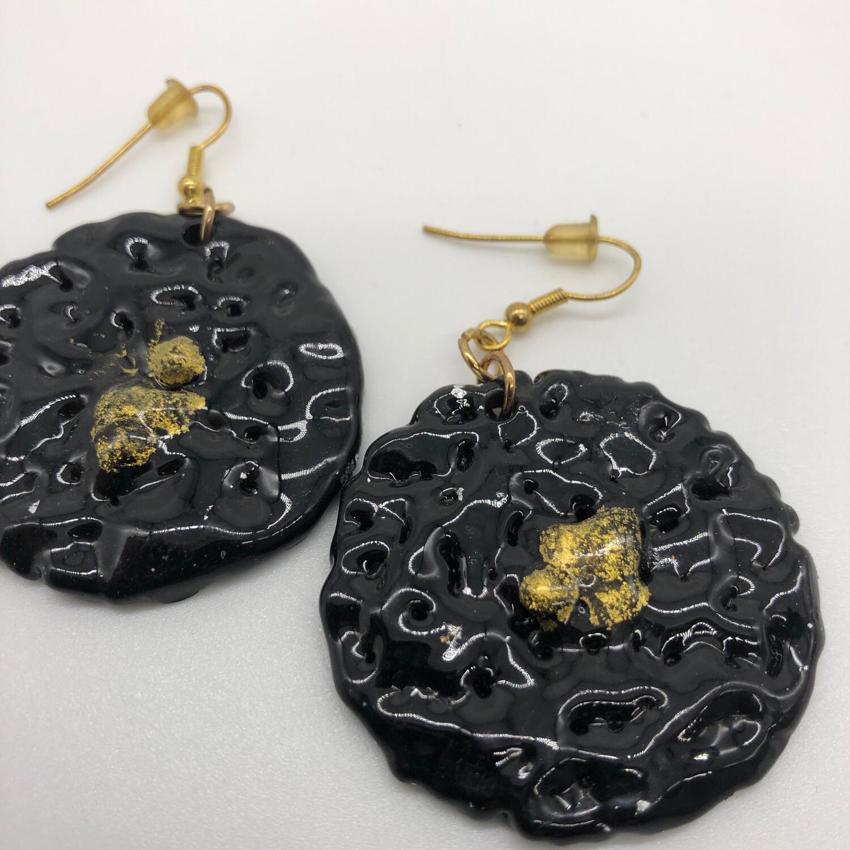 Ohrhänger schwarz/gold/silber - beidseitig tragbar