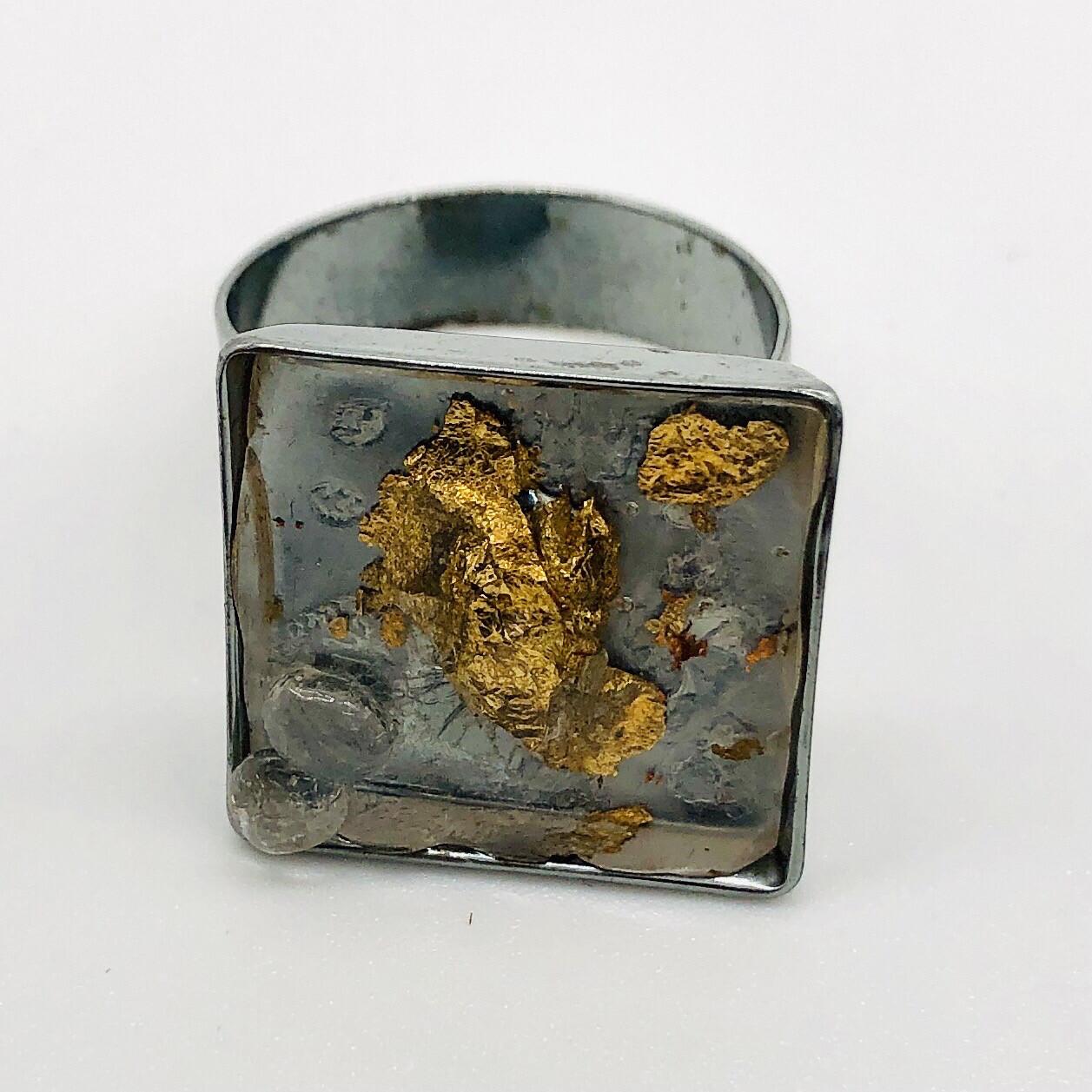 Ring mit Chip transparent gold silber