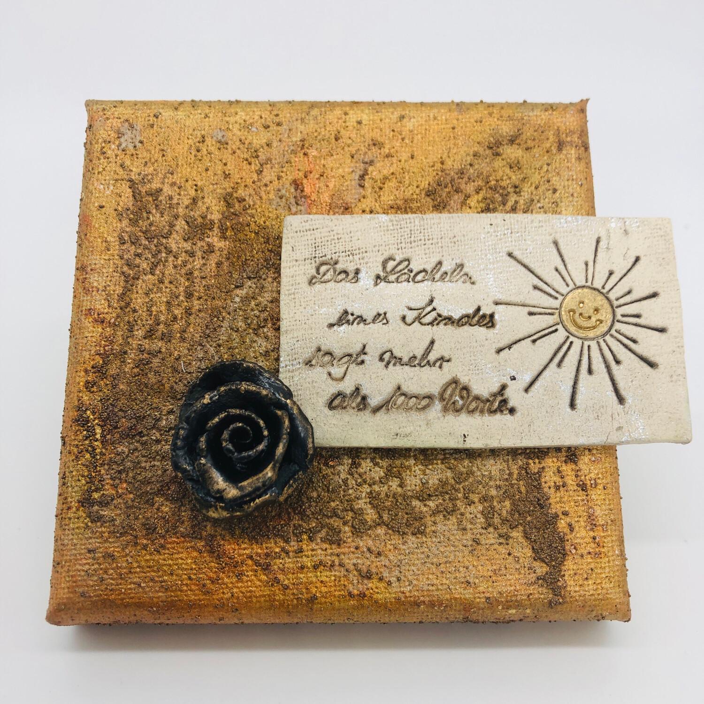 Bild Rostoptik Spruch Keramik