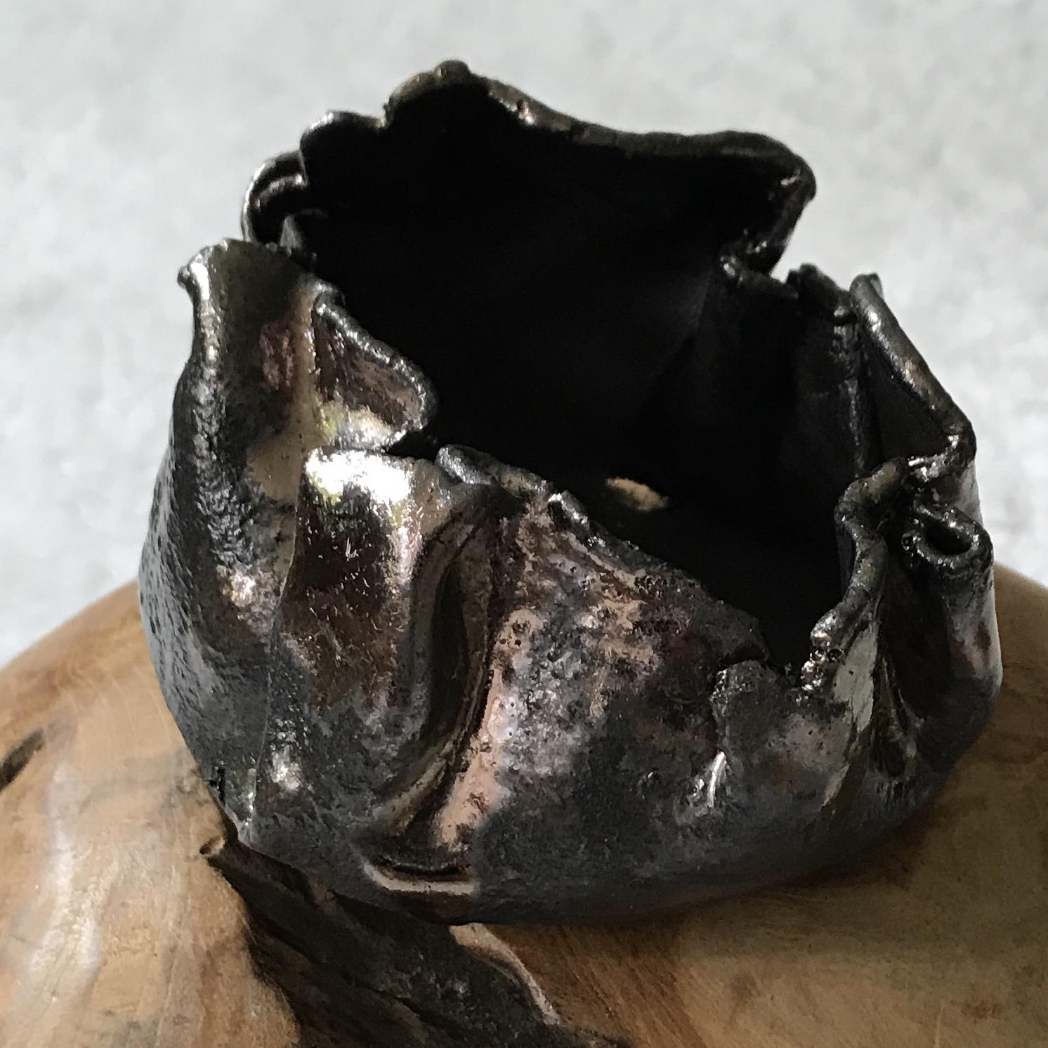 Keramikschale/Windlicht braun mit Metallglanz