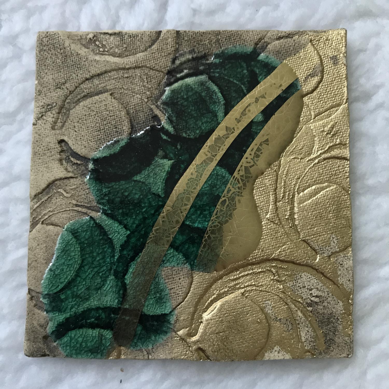 Kerzenteller grün/gold