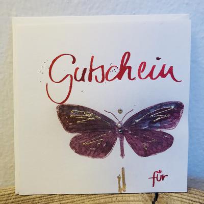 """Billett """"handmade"""" groß - Gutschein Schmetterling"""