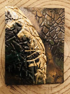Kerzenteller braun/grün/gold