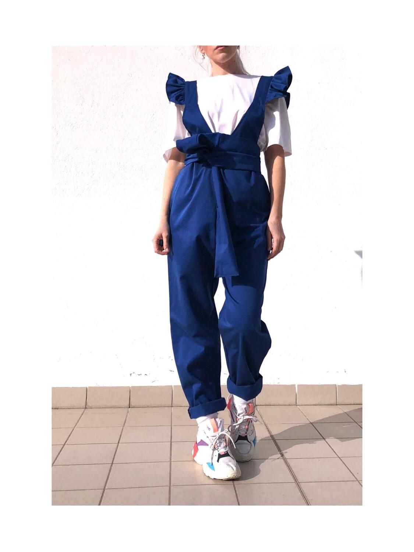 Salopette con rouches Blu elettrico